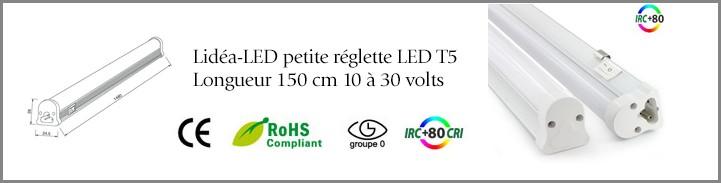 Lidéa-LED petite réglette LED T5 Longueur 150 cm 10 à 30 volts
